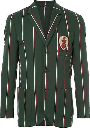 Kent & Curwen crest detail striped blazer - Green