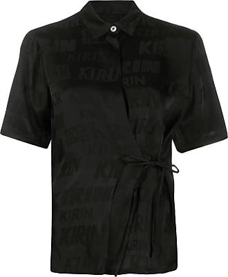 Kirin Camisa de jacquard com logo e transpasse - Preto
