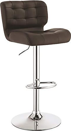 Coaster Fine Furniture Upholstered Adjustable Bar Stools Chrome and Brown (Set of 2)