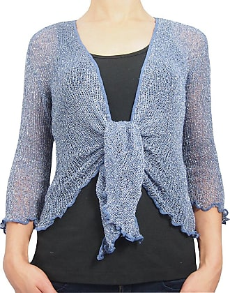 Mimosa Ladies Crochet Glitter and Plain Stretch Lace Fish Net Bali Tie at  Waist Bolero Shrug 480acd042