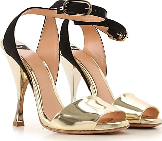 Elisabetta Franchi Sandals for Women On Sale, Gold, Leather, 2017, 10 7