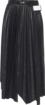 Helmut Lang Pleated leather midi skirt