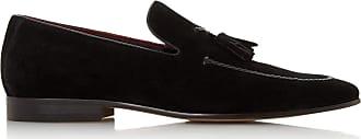 Dune London Dune Mens Spirited Plait Trim Tasseled Loafer Size UK 10 Black Flat Heel Suede Loafers