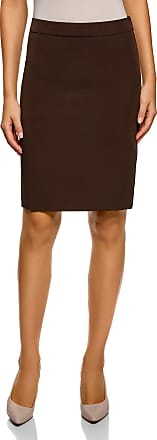 oodji Collection Womens Basic Straight Skirt, Brown, UK 6 / EU 36 / XS