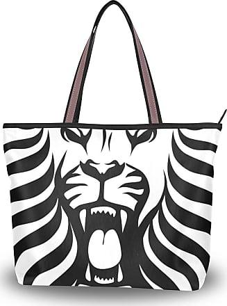 Lorona Women Lion Tribal Tattoo Design Canvas Shoulder Hand Bag Large Capacity Tote Bag