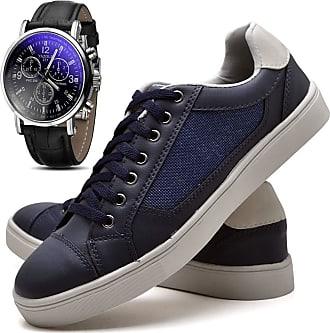 Juilli Kit Sapatênis Sapato Casual Com Relógio JUILLI Masculino Com Cadarço 04M Tamanho:40;cor:Azul;gênero:Masculino