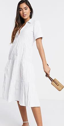 Stradivarius Halflange poplin jurk met knopen in wit