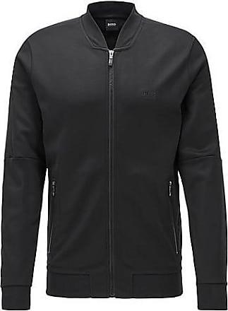 BOSS Zip-through sweatshirt in structured fabric with logo artwork