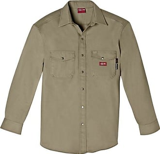 Dickies Mens Flame Resistant Long Sleeve Twill Snap Front Shirt, Khaki, Large