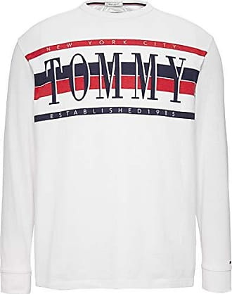 8c425635d Tommy Hilfiger Tommy Jeans Mens Long Sleeve T Shirt Retro Logo Tee, Classic  White,