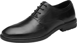 ICEGREY Mens Pointed Leather Shoes Breathable Leather Business Casual Shoes Black-Lacing,9.5
