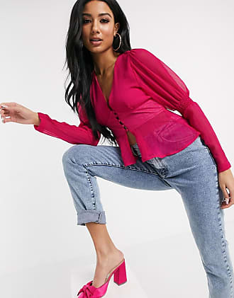 Unique21 Unique21 button front peplum blouse in pink