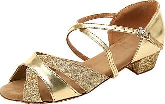 Insun Girls Ballroom Dance Shoes Latin Salsa Performance Shoes Suede Sole Gold 1 10.5 UK Child