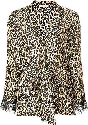 Gold Hawk Camisa Coco de seda com animal print - Marrom