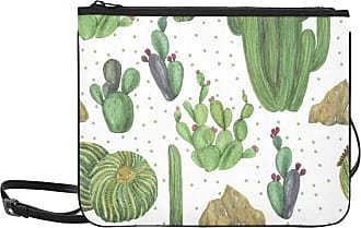 Yushg Canvas Shoulder Bags Lovely Green Watercolor Oasis Cactus Adjustable Shoulder Strap Girl Fashion Bags For Women Girls Ladies Fashion Design Bag Cute C