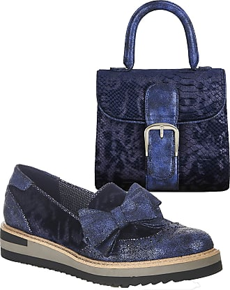 Ruby Shoo Womens Blue Joanne Loafer Shoes & Matching Riva Bag UK 9