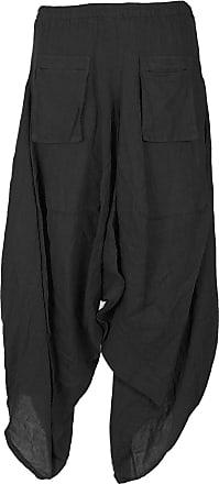 Generic Ladies Womens Italian Lagenlook Quirky 2 Flap Slit Pocket Linen Boho Harem Parachute Tulip Trousers (One Size, Black)