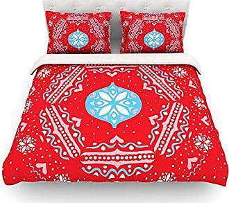 KESS InHouse Miranda Mol Snow Joy Red Blue Cotton Duvet Cover, 88 by 88-Inch