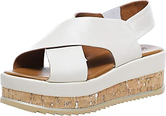 Inuovo Womens Leather Crossover Slingback Sandals 6 Cream