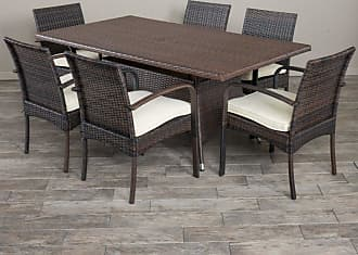 BEST SELLING HOME Outdoor Sarah Wicker 7 Piece Rectangular Patio Dining Set with Cushions - 295856