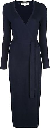 Diane Von Fürstenberg Vestido envelope de tricô - Azul