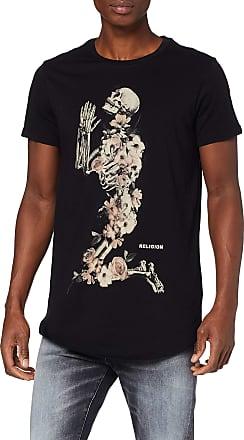 Religion Mens Skeleton Curved Hem TEE T-Shirt, Black (Black 001), Medium (Size:M)