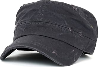 Ililily Distressed Cotton Cadet Cap with Adjustable Strap Army Style Hat, One Size, Dark Grey