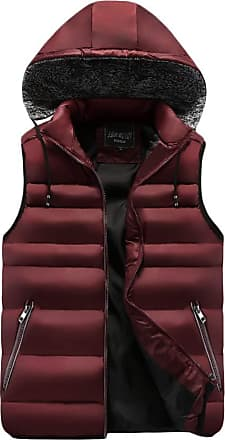 ZongSen Mens Body Warmer Cotton Blend Vest Waterproof Sleeveless Jackets Hooded Stylish Down Coat Wine Red 2XL
