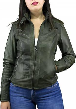 Leather Trend Italy V173 - Giacca Donna in Vera Pelle colore Verde Invecchiato