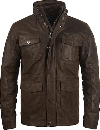 Solid Lash Mens Genuine Leather Biker Jacket With Stand-up Collar - Brown - 0-3 Months