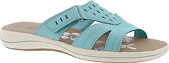 Easy Street Womens Blanche Fabric Open Toe Beach Slide Sandals, Blue, Size 6.0 US / 4 UK US