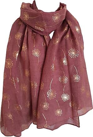 GlamLondon Dandelion Scarf Glitter Dandelions Flower Print Fashion Ladies Womens Classy Party Wrap (AZ4 - Rust)(Size: L)
