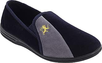 Zedzzz Mens Navy and Grey Velour Twin Gusset Slipper - Aaron - Navy/Grey - Navy/Grey - size UK Mens Size 13