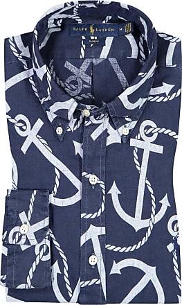 Polo Ralph Lauren Leinenhemd mit großem Anker-Motiv, Slim Fit von Polo Ralph Lauren in Marine für Herren