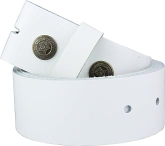 2Store24 Real Leather Snap on belt in white | Waist size 100