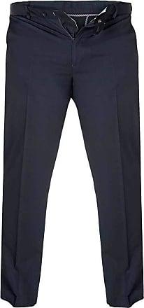 Duke London Duke D555 Mens King Size Big Tall Bruno Chinos With Extenda Waist Navy - Size 58 - Short