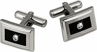 Zales Mens Stainless Steel and Black Enamel Cuff Links with Diamond Accents