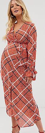 Asos Maternity ASOS DESIGN Maternity wrap midi dress in textured check-Multi