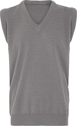 21Fashion Mens Sleeveless V Neck Knitted Slipover Sweater Adults Golf Sports Wear Tank Top Silver 5X-Large