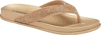Dunlop Ladies Low Wedge Multi Platform Summer Slip On Toe Post Flipflops Sandals Shoes Size 3-8 (Quin Gold, Numeric_6)