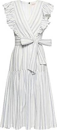 Rebecca Taylor Rebecca Taylor Woman Wrap-effect Striped Stretch-cotton Midi Dress White Size 10