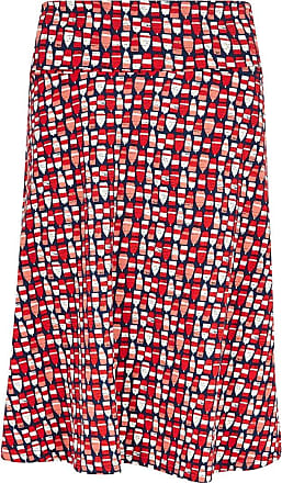 Weird Fish Malmo Patterned Jersey Skirt Radical Red Size 16