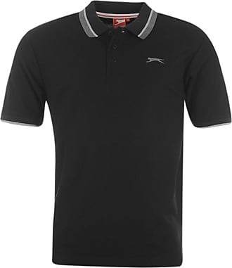 Slazenger New Mens Gents Plain Short Sleeve Casual Polo T Shirt TOP Size (S (Small), Black)