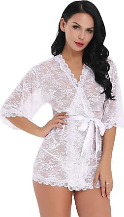 Uzi Nyc Lingerie Nightwear for Women Lace Kimono Robe Nightgown with Belt,White,XXL