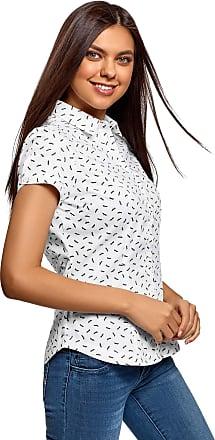 oodji Womens Short Sleeve Cotton Shirt, White, UK 4 / EU 34 / XXS