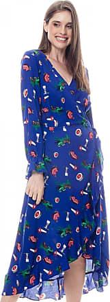 101 Resort Wear Vestido ENVELOPE 101 Resort Wear Midi BABADOS Manga Longa Viscose Estampada Azul