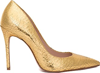 Schutz Scarpin Cracked Metallic - Dourado