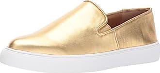 Franco Sarto Womens Mony Sneaker, Gold, 5.5 Medium US