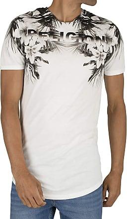 Religion Mens Hawaii Curved Hem T-Shirt, White, L