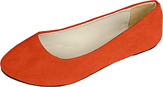 Vdual Women Ladies Slip On Flat Comfort Walking Ballerina Shoes Size UK 2.5-8 Orange